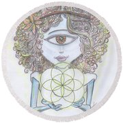 Round Beach Towel featuring the drawing Enlightened Alien by Similar Alien