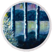 Enlightened Forest  Round Beach Towel