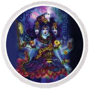 Enlightened Shiva Round Beach Towel