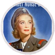 Enlist In A Proud Profession - Join The Us Cadet Nurse Corps Round Beach Towel