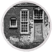 Round Beach Towel featuring the photograph Enough Windows - Bw by Christopher Holmes