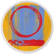 Round Beach Towel featuring the painting Enso by Julie Niemela