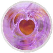 Entangled Heart Round Beach Towel