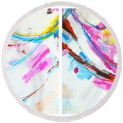 Entangled No. 8 - Diptych - Abstract Painting Round Beach Towel