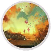 Round Beach Towel featuring the painting Enter The Fantasy Land by Tithi Luadthong