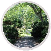 Enter The Garden Round Beach Towel