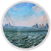 Entering In New York Harbor Round Beach Towel