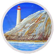 Entering The Harbor Round Beach Towel by J R Seymour