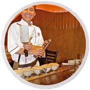 Entertaining Chef At Benihana In Monterey-california Round Beach Towel
