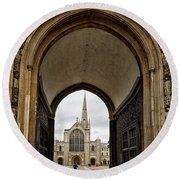 Entrance To Norwich Cathedral  Round Beach Towel