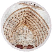 Entrance To Notre Dame Cathedral Round Beach Towel