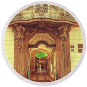 Round Beach Towel featuring the photograph Entrance To Passage. Series Golden Prague by Jenny Rainbow