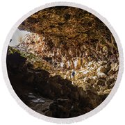 Entrance To Skull Cave Round Beach Towel by Marc Crumpler