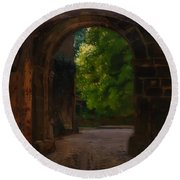 Entrance To The Castle Wiesenburg In The Mark Round Beach Towel