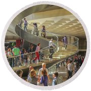 Entry Hall In The Louvre Museum Round Beach Towel