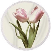 Entwined Tulips Round Beach Towel by Jeannie Rhode