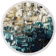 Round Beach Towel featuring the painting Envisioning by Carmen Guedez