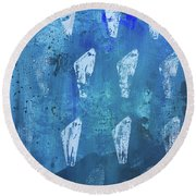 Round Beach Towel featuring the painting Eolith II by Robin Maria Pedrero