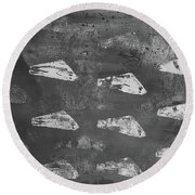Round Beach Towel featuring the painting Eoliths Grayscale by Robin Maria Pedrero