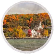 Round Beach Towel featuring the photograph Ephraim Wisconsin In Door County by Heidi Hermes
