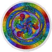 Psychedelic Dragons Rainbow Mandala Round Beach Towel