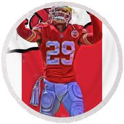 Eric Berry Kansas City Chiefs Oil Art Round Beach Towel