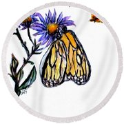 Erika's Butterfly One Round Beach Towel by Clyde J Kell