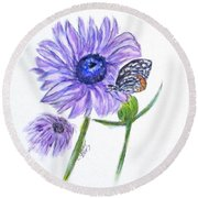 Erika's Butterfly Three Round Beach Towel by Clyde J Kell