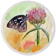 Erika's Butterfly Two Round Beach Towel by Clyde J Kell