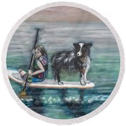 Erin And Oakie On The Paddle Board Round Beach Towel