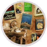Ernest Hemingway Books 2 Round Beach Towel by Andrew Fare