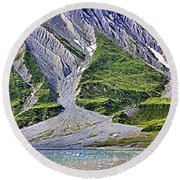 Round Beach Towel featuring the photograph Erosion by Kristin Elmquist