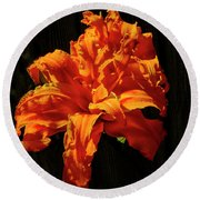 Errupting Lily Round Beach Towel