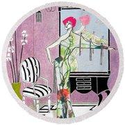 Erte'-esque -- Art Deco Interior W/ Fashion Figure Round Beach Towel