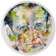 Round Beach Towel featuring the painting Erwin Schrodinger - Watercolor Portrait by Fabrizio Cassetta