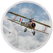 Round Beach Towel featuring the photograph Escadrille Lafayette - Hunters by Pat Speirs