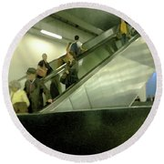 Round Beach Towel featuring the photograph Escalator Tate Modern by Anne Kotan