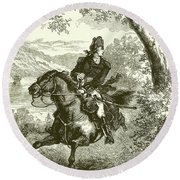 Escape Of Benedict Arnold  Engraving Round Beach Towel
