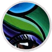 Colorful Abstract Art Painting, Modern Art Brown Eye Art Paintings Round Beach Towel