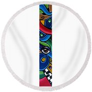Escape To Venice - Abstract Art Painting, Modern Abstract Eye Art - Ai P. Nison Round Beach Towel