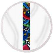 Colorful Abstract Art Painting, Modern Art Brown Eye Art Paintings Round Beach Towel