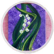Escaping Winter Lilly Of The Valley Round Beach Towel