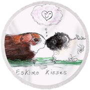 Eskimo Kisses Round Beach Towel