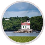 Esopus Lighthouse In July 2016 #1 Round Beach Towel