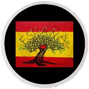 Round Beach Towel featuring the drawing Espana Love Tree by Aaron Bombalicki