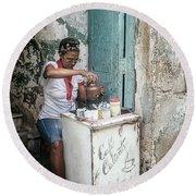 Espresso Entrepreneur Havana Cuba Round Beach Towel