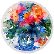Round Beach Towel featuring the painting Essence Of Summer #2 by Trudi Doyle