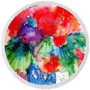 Round Beach Towel featuring the painting Essence Of Summer by Trudi Doyle