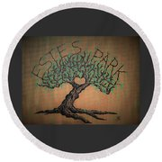 Round Beach Towel featuring the drawing Estes Park Love Tree by Aaron Bombalicki