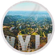 Esthetic Hollywood Round Beach Towel